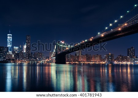 brooklyn bridge, night brooklyn bridge, nyc, new york city, usa - stock photo