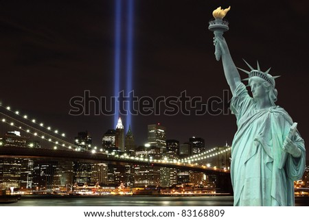 Brooklyn Brigde and the Towers of Lights at Night - stock photo