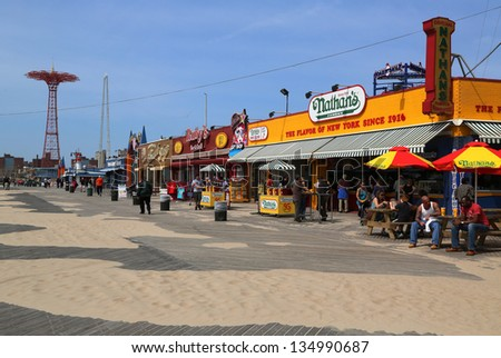 BROOKLYN, NEW YORK - APRIL 9:The Nathan's reopened after damage by Hurricane Sandy on April 9, 2013 at  Coney Island Boardwalk. The original Nathan's still exists on the same site that it did in 1916 - stock photo