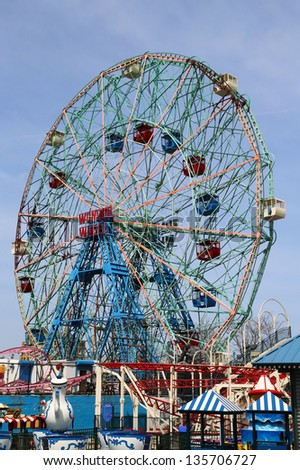 BROOKLYN, NEW YORK -APRIL 9 :Wonder Wheel at the Coney Island amusement park on April 9, 2013. Deno's Wonder Wheel a hundred and fifty foot eccentric Ferris wheel. This wheel was built in 1920 - stock photo