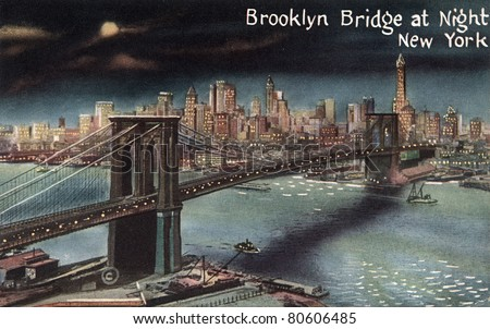 BROOKLYN, NEW YORK - CIRCA 1915: Vintage postcard depicting the Brooklyn Bridge at night, crossing over the East River, connecting the boroughs of Manhattan & Brooklyn, New York, USA, circa 1915. - stock photo