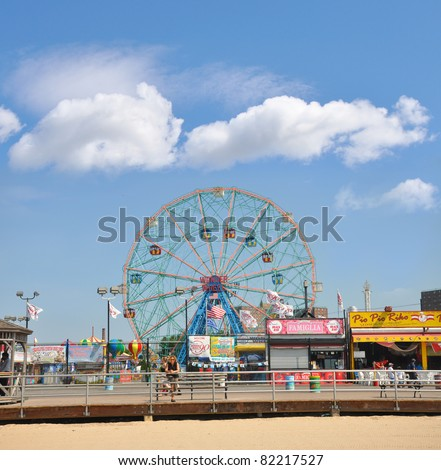 BROOKLYN, NEW YORK - JUL 18: Coney Island known for its boardwalk restaurants and amusement park is a peninsula and beach on the Atlantic Ocean in southern Brooklyn New York, July 18, 2010. - stock photo