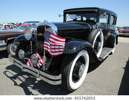 BROOKLYN, NEW YORK - JUNE 12, 2016: Historical 1930 Buick on display at the Antique Automobile Association of Brooklyn annual Spring Car Show  - stock photo