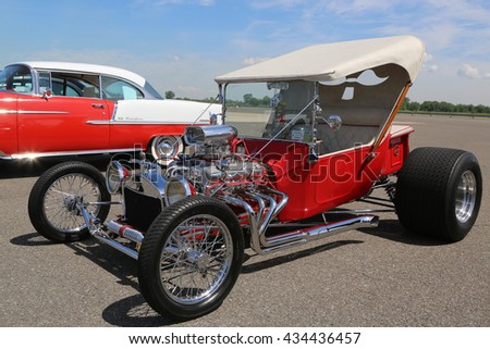 BROOKLYN, NEW YORK - JUNE 8, 2014: Historical 1925 Ford Hot Rod on display at the Antique Automobile Association of Brooklyn annual Spring Car Show in Brooklyn, New York  - stock photo