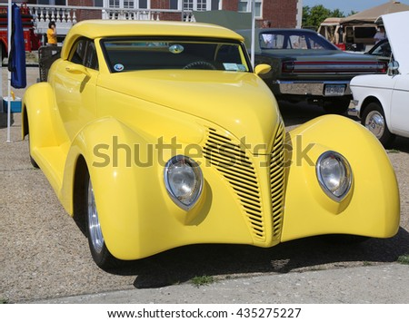 BROOKLYN, NEW YORK - JUNE 8, 2014: Historical 1939 Ford on display at the Antique Automobile Association of Brooklyn annual Spring Car Show in Brooklyn, New York  - stock photo
