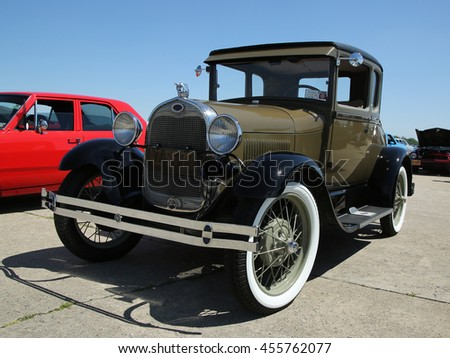 BROOKLYN, NEW YORK - JUNE 12, 2016: Historical 1928 Ford on display at the Antique Automobile Association of Brooklyn annual Spring Car Show  - stock photo