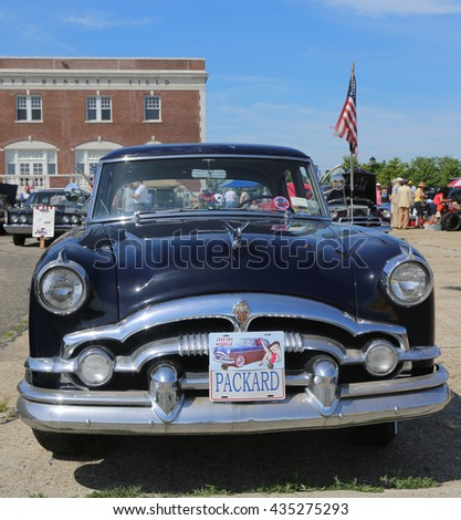 BROOKLYN, NEW YORK - JUNE 8, 2014: Historical 1954 Packard on display at the Antique Automobile Association of Brooklyn annual Spring Car Show in Brooklyn, New York  - stock photo