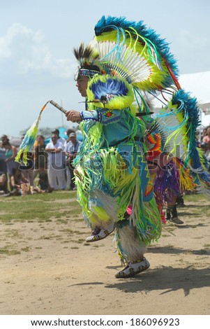 BROOKLYN, NEW YORK - JUNE 2:Unidentified Native American dancer at the NYC Pow Wow in Brooklyn on June 2, 2013. A pow-wow is a gathering and Heritage Celebration of North America s Native people  - stock photo