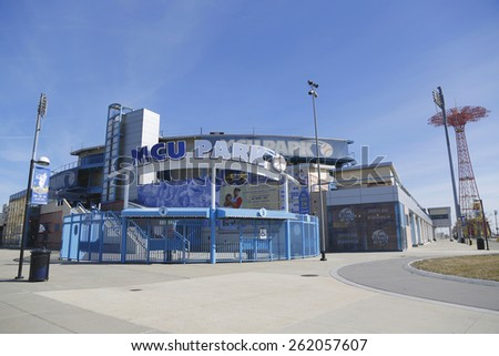 BROOKLYN, NEW YORK - MARCH 19, 2015: MCU ballpark a minor league baseball stadium in the Coney Island section of Brooklyn, the home team is the New York Mets - affiliated Brooklyn Cyclones  - stock photo