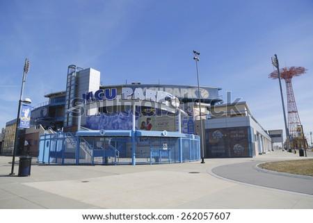 BROOKLYN, NEW YORK - MARCH 19, 2015: MCU ballpark a minor league baseball stadium in the Coney Island section of Brooklyn, the home team is the New York Mets - affiliated Brooklyn Cyclones  - stock photo