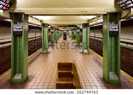 BROOKLYN, NEW YORK - MARCH 8, 2015: MTA Clark Street Subway Station (2, 3) in the Brooklyn Heights area of Brooklyn, New York. - stock photo