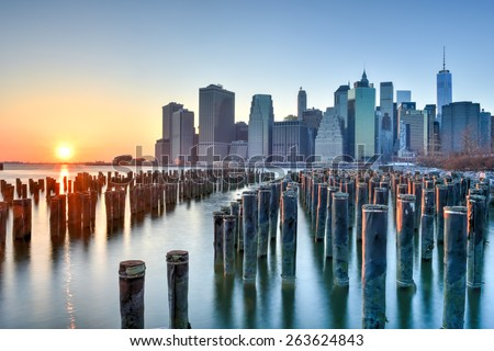 BROOKLYN, NEW YORK - MARCH 8, 2015: New York City Skyline from Brooklyn Heights. - stock photo