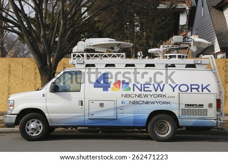 BROOKLYN, NEW YORK - MARCH 21, 2015: WNBC Channel 4 van in Brooklyn. WNBC is a television station located in New York City and is the flagship station of the television network - stock photo