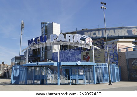 BROOKLYN, NY - MARCH 19, 2015: MCU ballpark a minor league baseball stadium in the Coney Island section of Brooklyn, the home team is the New York Mets - affiliated Brooklyn Cyclones  - stock photo