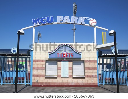BROOKLYN, NY - MARCH 18: MCU ballpark ticket booth in the Coney Island section of Brooklyn on March 18, 2014. It is home for Brooklyn Cyclones team affiliated with the New York Mets - stock photo