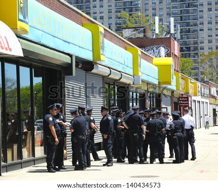 BROOKLYN, NY- MAY 27:NYPD officers ready to patrol streets on Memorial Day in Brooklyn, NY on May 27, 2013. The New York Police Department, established in 1845, is the largest police force in USA - stock photo
