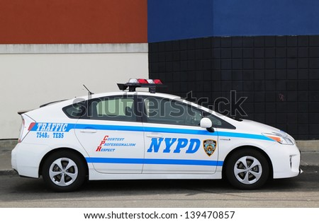 BROOKLYN, NY- MAY 14:NYPD traffic control vehicle in Brooklyn, NY on May14, 2013. The New York Police Department, established in 1845, is the largest police force in USA - stock photo