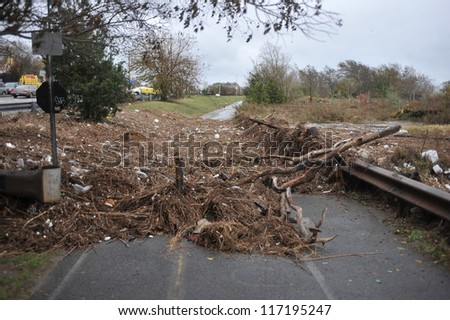 BROOKLYN, NY - OCTOBER 29: Debris litters the ground in the Sheapsheadbay neighborhood due to flooding from Hurricane Sandy in Brooklyn, New York, U.S., on Tuesday, October 30, 2012. - stock photo