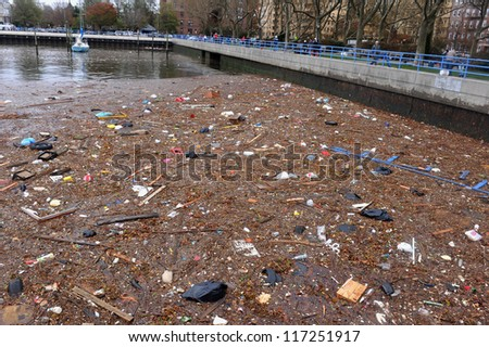 BROOKLYN, NY - OCTOBER 30:Debris litters the ground in the Sheapsheadbay neighborhood due to flooding from Hurricane Sandy in Brooklyn, New York, U.S., on Tuesday, October 30, 2012. - stock photo