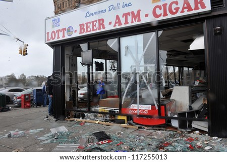 BROOKLYN, NY - OCTOBER 30: Destroyed grocery store in the Sheapsheadbay neighborhood due to flooding from Hurricane Sandy in Brooklyn, New York, U.S., on Tuesday, October 30, 2012. - stock photo