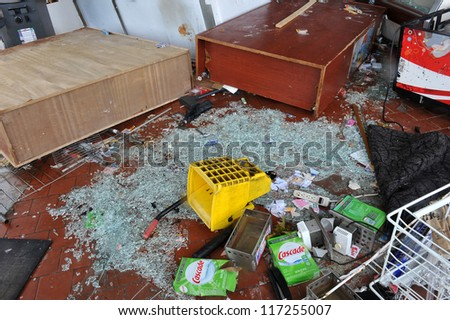 BROOKLYN, NY - OCTOBER 30:Destroyed grocery store in the Sheapsheadbay neighborhood due to flooding from Hurricane Sandy in Brooklyn, New York, U.S., on Tuesday, October 30, 2012. - stock photo