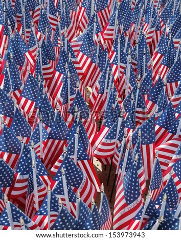 BROOKLYN, NY - SEPTEMBER 12: 343 American Flags in the memory of FDNY firefighters who lost their life on September 11, 2001 at home based memorial in Brooklyn on September 12, 2013 - stock photo