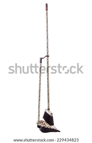 Broom and dustpan kit with leopard texture isolated over a white background - stock photo