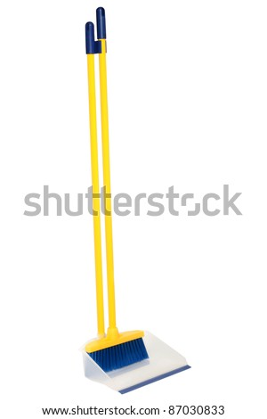 Broom and dustpan on a white background - stock photo