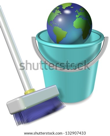 Broom and plastic bucket with earth globe in it / Earth in plastic bucket - stock photo