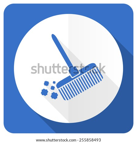 broom blue flat icon clean sign  - stock photo