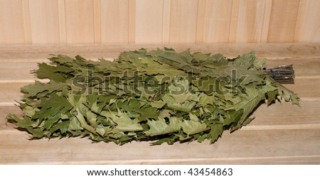 Broom for Russian bath a close up. - stock photo
