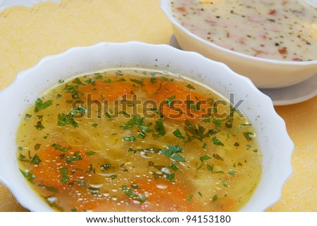 broth , chicken soup with noodles - stock photo