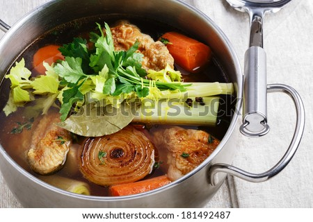 broth cooking - stock photo