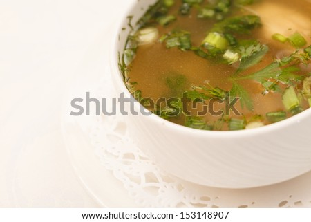 broth with chicken - stock photo