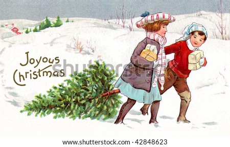 Brother and sister bringing home a fresh-cut Christmas tree and presents as they walk through the snowy countryside. - stock photo