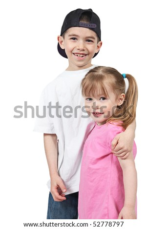 brother and sister on a white - stock photo