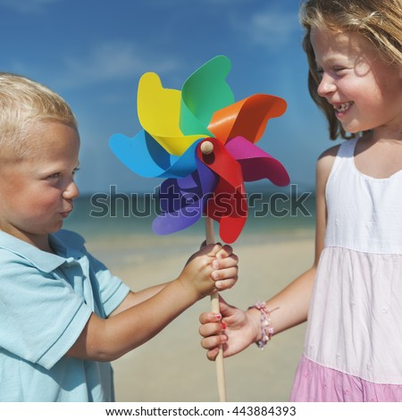 Brother Sister Beach Bonding Holiday Travel Concept - stock photo
