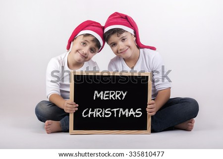 brothers at Christmas - stock photo
