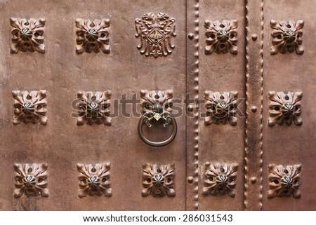 Brown ancient metal door background with decorative elements  - stock photo
