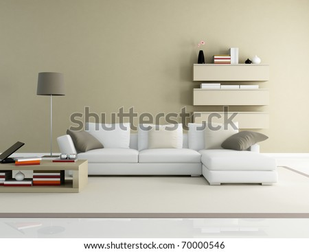 brown and beige modern living room - rendering - stock photo