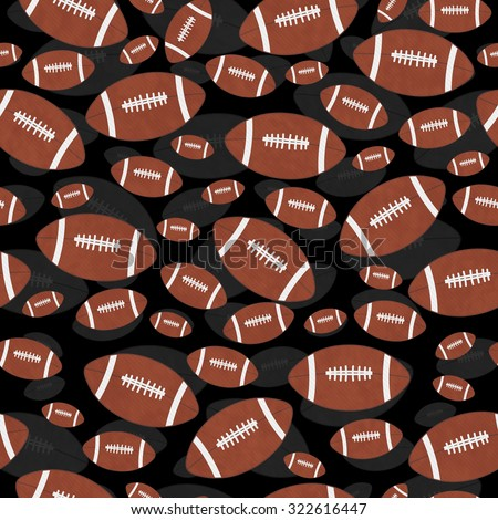 Brown and Black Football Tile Pattern Repeat Background that is seamless and repeats - stock photo