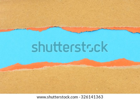 Brown and orange ripped paper - stock photo
