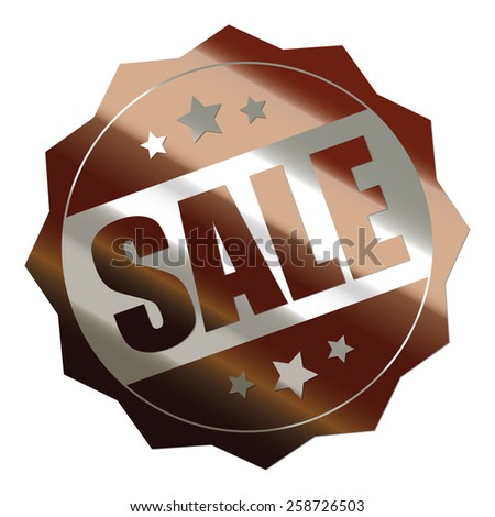 brown and silver metallic sale sticker, badge, icon, stamp, label, banner, sign isolated on white  - stock photo