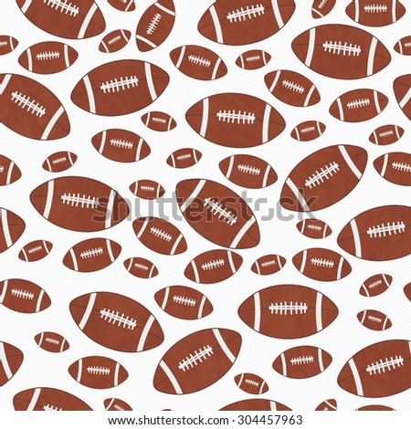 Brown and White Football Tile Pattern Repeat Background that is seamless and repeats - stock photo