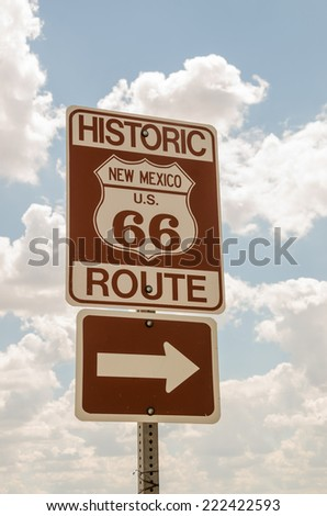 Brown and white sign for historic Route 66 in New Mexico - stock photo