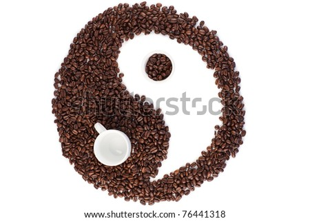 Brown and white symbol made of coffee beans on a white background - stock photo