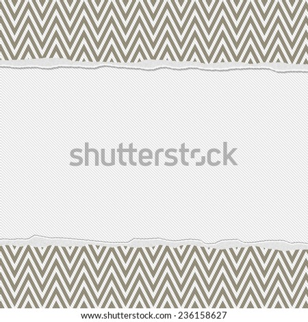 Brown and White Torn Chevron Frame Background with center for copy-space, Classic Torn Chevron Frame - stock photo