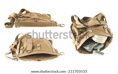Brown army shoulder bag isolated over the white background, set of three images, with and without gas mask inside - stock photo