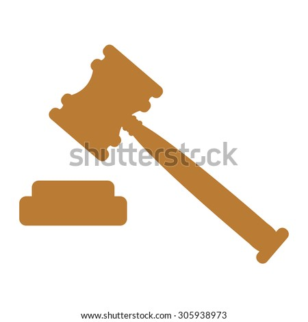 Brown Auction Hammer Infographics Flat Icon, Sign Isolated on White Background - stock photo