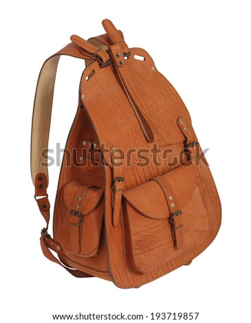 brown backpack isolated on white - stock photo